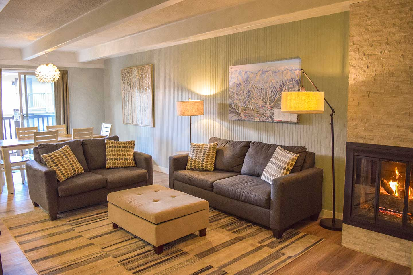 Family and friends can gather in the spacious living area to share tales from the day's ski adventure.