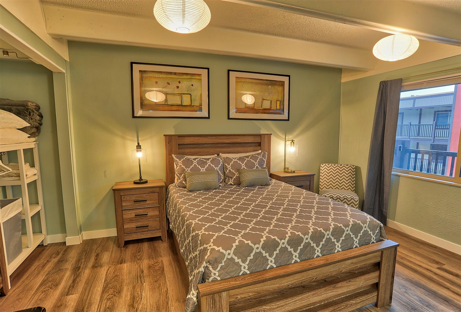 You won't feel cramped in this master bedroom.